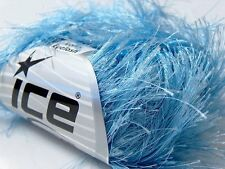 38Yd Light Blue Extra Long Eyelash Yarn Ice Luxurious Blue Fun Fur 13022 50gr