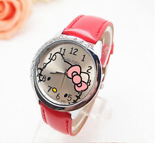 Kids Girls Hello Red Blue Wrist Watch Analog Leather Strap Steel Back