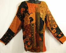 910T~TIENDA HO~Ambers~TUNIC TOP~Hippy Rayon Patchwork~OVER SIZED~l/s~BOHO~os