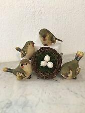 SMALL RESIN GREEN WARBLER BIRDS   SET OF 4   NEW plus nest with eggs