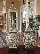 Vintage Chinese Porcelain Ginger Jar Table Lamps (2) Rosewood Bases
