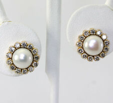 Diamond pearl earrings 18K yellow gold halo 8.5MM round brilliant .80C screwback