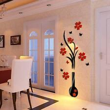 DIY Vase Flower Tree Crystal Arcylic 3D Wall Stickers Decal Home Floral Decor