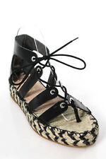 Loeffler Randall Black Leather Lace Up Iggy Espadrille Sandals Size 9 B