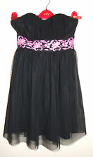 Jane Norman Cute Floaty Black Dress Size 6 Pink Flowers Netting Christmas Party