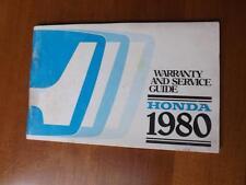 CANADIAN HONDA MOTOR CAR WARRANTY SERVICE GUIDE BOOK 1980 + OWNER REGISTRATION