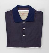 Luciano Barbera Navy Blue Burgundy Melange 100% Cotton Polo Golf Shirt 52 IT L