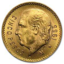 1905-1955 AU+ .900 Gold Mexican 5 Pesos - RANDOM YEARS - OLD ROUND BULLION COIN