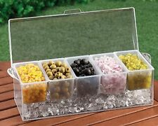 Chilled Condiment Server with 5 Removable Containers, Buffet Server, Acrylic
