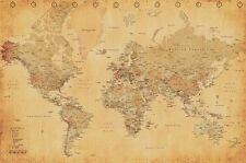 Vintage World Map Style Retro Old Classic Renaissance Poster Print Frameable NEW