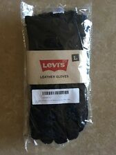 NEW Levi's Mens L Pig Suede Leather Winter Gloves with Shearling Lining Black