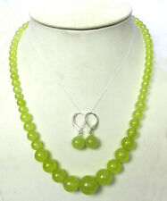 """New 6-14mm Peridot Round Beads Gemstone Necklace + Earrings 18 """""""