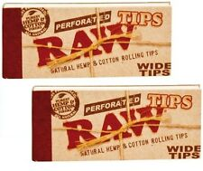 5 Packs RAW Wide Perforated Natural Unrefined Hemp & Cotton Tips (250 Total) new