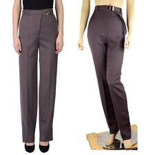 YVES SAINT LAURENT RIVE GAUCHE YSL PANTS BROWN WOOL SIGNATURE LOGO BELT sz 40