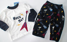 NWT GYMBOREE ROCK OUT GUITAR 2 PIECE FLEECE GYMMIES PJS PAJAMAS 12-18 MONTHS