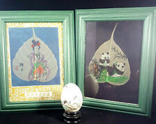 Chinese Silk Oil Painting Sacred Bodhi China Leaf Frame FOLK ART REAL EGG LEAVES