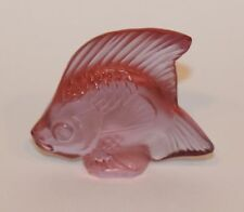 Signed Lalique France Crystal Poisson Angel Fish Figurine Pink 30017