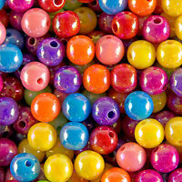 750 Mixed Colour Acrylic Plastic Opaque Round AB Spacer Beads 4mm
