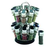 Olde Thompson Filled 20-Jar Flower Revolving Kitchen Spice Rack Counter Storage