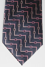 Hetherington Gray tie geometric pattern with sheen handmade Pink and grey colour