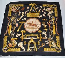 AUTHENTIC HERMES SILK SCARF CARRE COPEAUX BLACK COLOURWAY - VINTAGE