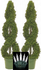 2 SPIRAL CEDAR OUTDOOR TOPIARY ARTIFICIAL TREE 4' CYPRESS PINE CHRISTMAS LIGHTS