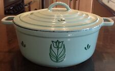 Made in Holland DRU TULIP #6 Enameled Cast Iron & Steel Green COVERED SAUCE PAN