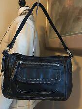 Fossil Black Leather Shoulder Bag W/ Silver Tone Hrdwr ZB2868 EUC!!!