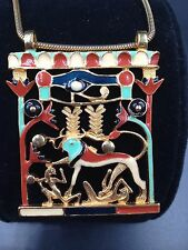 Museum Piece Egyptian Revival Necklace Elaborate Colorful Enamel Eye of Horus!