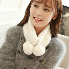Women Winter Warm Plush Scarf Stole Cape Collar Wrap Scarves Shawl White