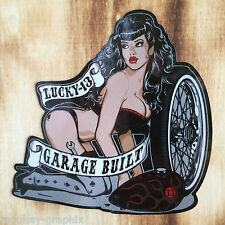 Oldschool Aufkleber Lucky13 Pinup Girl Garage Built / Rockabilly US Car V8 Lady