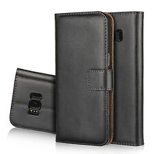 For Samsung Galaxy S8 Black Genuine Leather Business Wallet Flip Case Cover