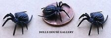 3 Black Spiders miniatures insects garden outdoor, Halloween, Creepy Crawly