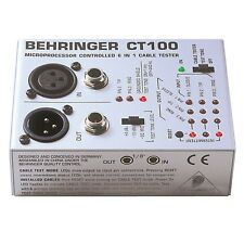 "Behringer CT-100 3-Pin XLR Mono TRS 1/4"" 1/8"" TT RCA & MIDI Cable Tester CT100"