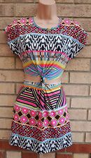 MISSGUIDED TRIBAL MULTI COLORED AZTEC CUT OUT SIDES KNOT TUBE SEXY DRESS S 8 10