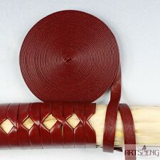 STC008 5 METERS KATANA BRAID SAGEO TSUKA ITO FOR HILTS WRAP RED MANMADE LEATHER