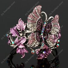 Purple amethyst Swarovski Crystal New Leaf Butterfly fashion jewelry Bracelet