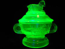 Green Vaseline glass child cookie / cracker jar lamb sheep pattern sugar Uranium