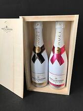 2x Moet Chandon Ice Imperial Rose Champagner Flasche 0,75l 12% Vol + Holzkiste