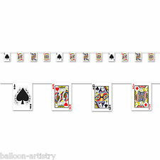 12ft Casino Party Playing Cards Poker Plastic Pennant Flag Banner Decoration