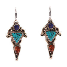 Turquoise Coral Tribal Tibetan Silver Costume Jewelery Drop Dangle Earrings Long