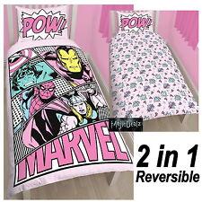 Marvel Comics Chicas pasteles de Cubierta de Edredón Individual Spiderman Thor Hulk Iron Man