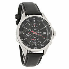 Seiko Mens Black Dial Leather Strap Chronograph Quartz Watch SKS495