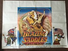 BLAZING SADDLES 1974 Original UK Quad Film Poster MEL BROOKS GENE WILDER