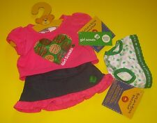 New BUILD-A-BEAR GIRL SCOUT COOKIES PINK TEE SHIRT SKIRT Scouts OUTFIT + UNDIES