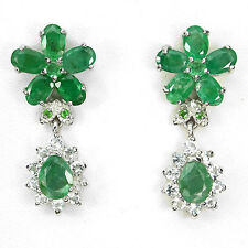 42 CTS! DELUXE! NATURAL BRAZILIAN EMERALD, WHITE TOPAZ & TSAVORITE 925 EARRINGS