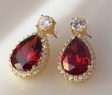 18K Yellow Gold Garnet CZ Women Fashion Jewelry Gift Stud Dangle Earring E0788-4