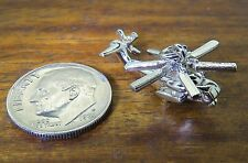 Vintage silver BEAU HELICOPTER KOREA VIETNAM WORLD WAR MOVABLE charm BEAUCRAFT