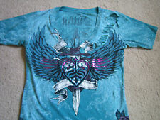 Sinful by Affliction Womens SS Slit Deep V-Neck Shirt/Top - Large - NWOT!!
