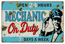 Reproduction Open 24 Hours Mechanic On Duty Sign 12X18